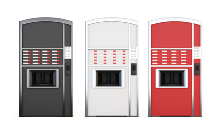 cold room: Set of vending machine for drinks and snacks on a white background. 3d rendering.