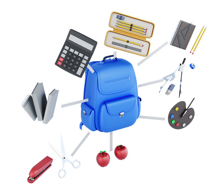 conceptual image: Set of student conceptual image isolated on white background. Backpack, school supplies, apples. 3d rendering
