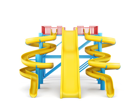 water park: Plastic slides for water park on a white background. Front view. 3d rendering. Stock Photo