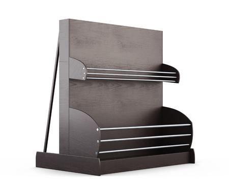 baking bread: Wooden shelves for supermarket on a white background. Shelves for bread. Rack for baking. 3d render image