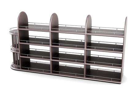 supermarket series: Shelving for bottles isolated on white background. 3d rendering.