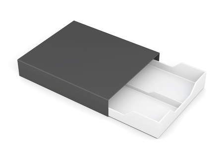 laminated: Black-and-white box of laminated cardboard on a white background. 3d rendering Stock Photo