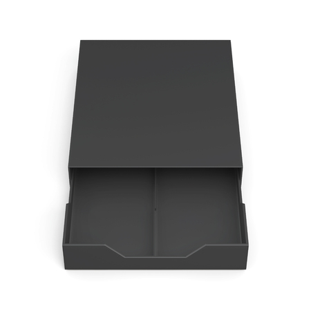 laminated: Black open drawer box isolated on white background. Laminated cardboard. Plastic box. 3d rendering