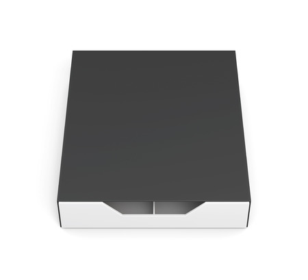 laminated: Closed drawer box isolated on white background. Laminated cardboard. Plastic box. Front view. 3d rendering