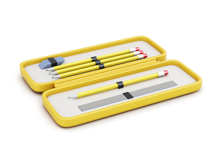 Mäppchen mit Stiften, Radiergummi und Lineal auf einem weißen Hintergrund. 3D-Rendering.