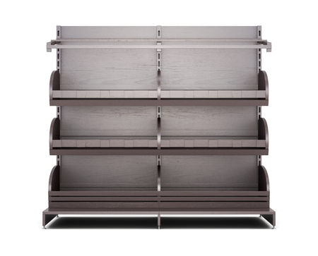 baking bread: Brown rack for bakery products front view on white background. Shelves for bread. Shelf for baking. 3d rendering Stock Photo