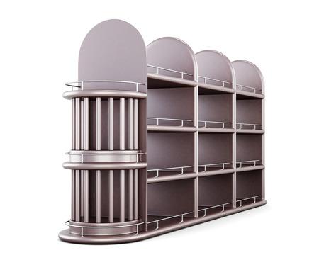 supermarket series: Shelving for bottles isolated on white background. 3d render image. Stock Photo