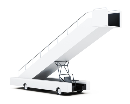 movable: Movable boarding ramp isolated on a white background. 3d rendering.