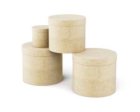 large group of object: Round cardboard boxes stack isolated on white background. 3d render image.