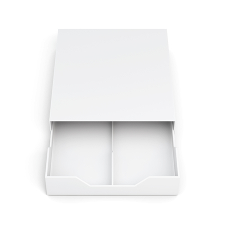 front view: Front view open drawer box isolated on white background. Laminated cardboard. Plastic box. 3d rendering Stock Photo