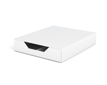 laminated: Closed and empty box isolated on white background. Laminated cardboard. Plastic box. With compartments. 3d rendering