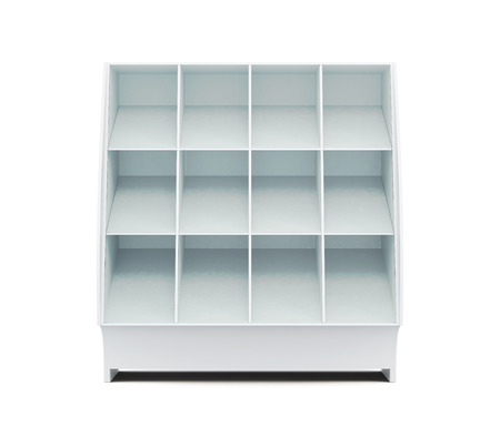 showcase: Supermarket showcase with shelves isolated on white background. Front view. Glassed showcase. 3d rendering