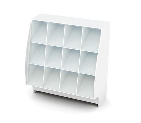 Display with shelves isolated on white background. Supermarket showcase. Glassed showcase. 3d render image Stock Photo