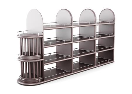 shelving: Wooden shelving for bottles isolated on white background. 3d rendering.