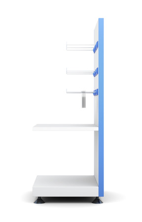 Rack with shelves and hooks for product isolated on a white background. Side view. 3d render image.