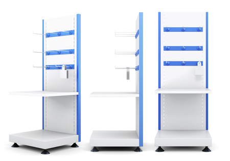 Different view of racks for merchandise isolated on a white background. 3d rendering.