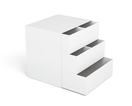 drawers: White chest of drawers with extended boxes on white background. Laminated cardboard. Plastic chest of drawers. Chest of drawers for small items. 3d rendering