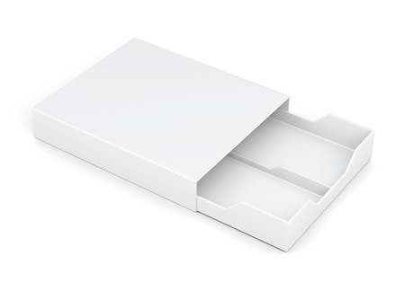 laminated: Open drawer box isolated on white background. Laminated cardboard. Plastic box. 3d rendering
