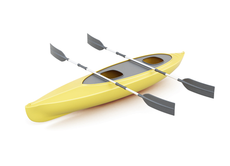 Yellow kayak with paddles isolated on a white background. 3d rendering. Stock Photo