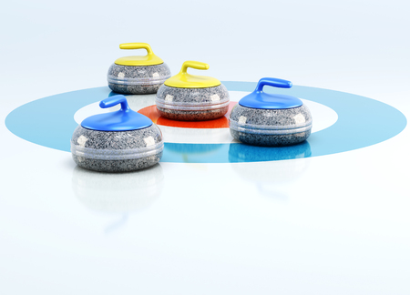 Curling stones in the center of target isolated on white background. 3d rendering. Stock Photo