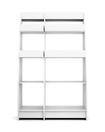 front view: Display rack with shelves isolated on white background. Front view. 3d rendering.