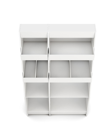 closet communication: Display rack with shelves isolated on white background. Top view. 3d rendering.