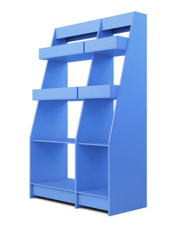 closet communication: Blue rack isolated on white background. With shelves. 3d rendering