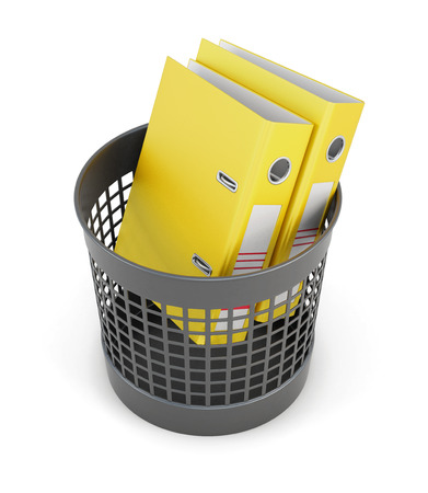 wastepaper basket: Yellow folders in the trash can isolated on white background. Wastepaper basket and folders. 3d rendering.