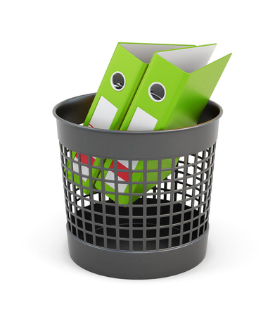 wastepaper basket: Green folders in the trash can isolated on white background. Wastepaper basket and folders. 3d rendering. Stock Photo