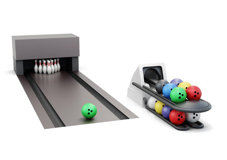 set the intention: Bowling and ball return system isolated on a white background. 3d rendering. Stock Photo