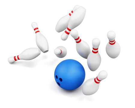 smashing: Ball smashing pins isolated on white background. Falling skittles. 3d rendering. Stock Photo