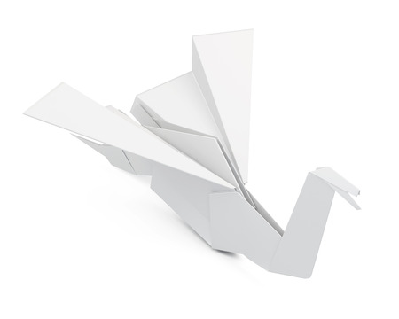 origami bird: Paper crane isolated on white background. Origami bird. 3d render image Stock Photo