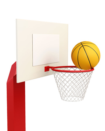 backboard: Basketball backboard isolated on white background. 3d rendering.