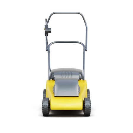 cable cutter: Frontal view of a lawn mower isolated on a white background. Yellow lawn mower. Electric lawn mower. 3d rendering.