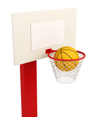 backboard: Basketball backboard isolated on white background. 3d render image.
