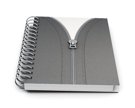 hard bound: Notebook with hard cover and  zip isolated on white background. 3d render image.
