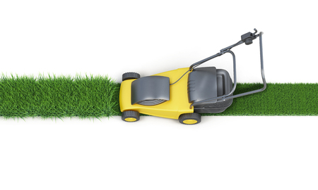 Lawn mower cutting grass isolated on white background. Top view. Electric lawn mower. 3d render image Archivio Fotografico