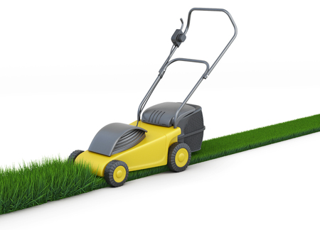 cable cutter: Lawn mower cutting grass isolated on white background. Swath of grass. Trimmed grass. 3d rendering.