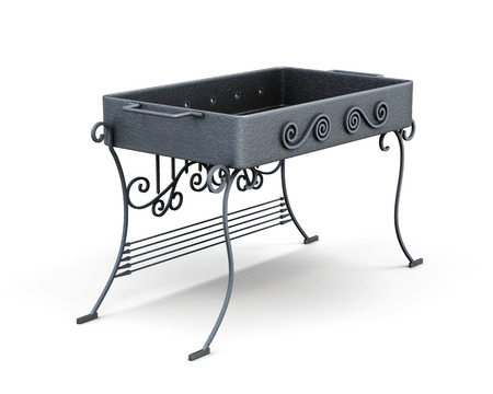 mangal: Portable barbecue isolated on a white background. Metal mangal. 3d rendering. Stock Photo