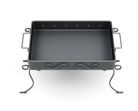 metal legs: Top view barbecue grill isolated on white background. Forged elements, ornament. 3d rendering.