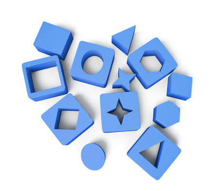 blue 3d blocks: Blue cubes with geometric shapes isolated on white background. Educational blocks. Childrens educational toys. 3d rendering