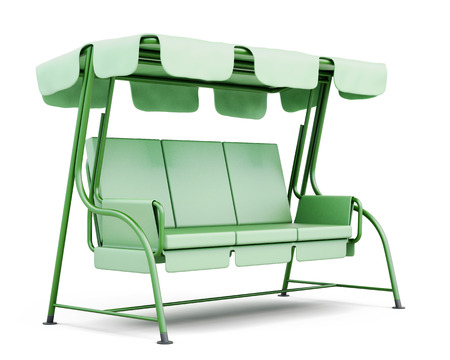 foldable: Metal swing for the garden isolated on a white background. 3d rendering.
