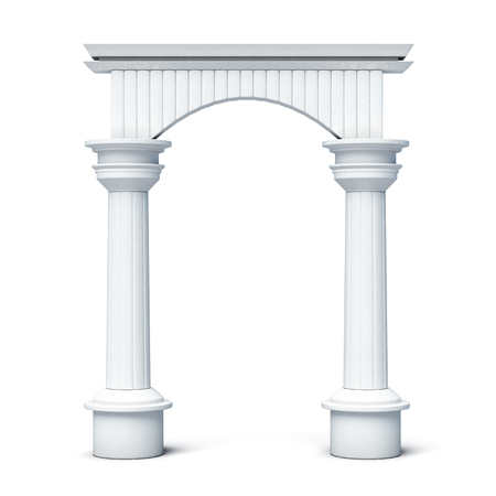 lighting column: Columns and arch front view isolated on white background. 3d rendering.