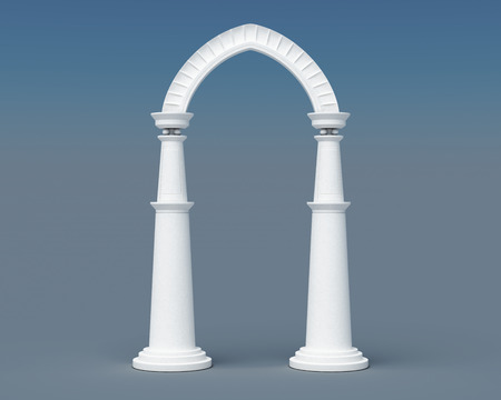 archway: Arch and columns on a blue background. 3d rendering.