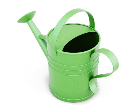 wateringcan: Green metal watering can isolated on white background. 3d render image.