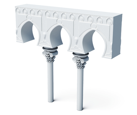 arches: Architectural objects columns arches isolated on white background. 3d rendering.
