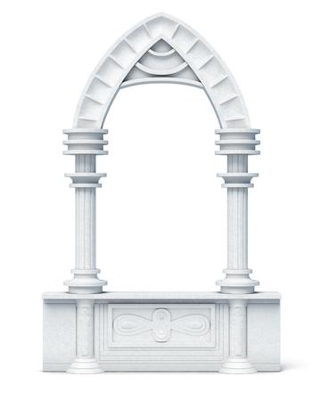 Architectonische objecten columns arch borstwering balustrade op een witte achtergrond. 3d render afbeelding.