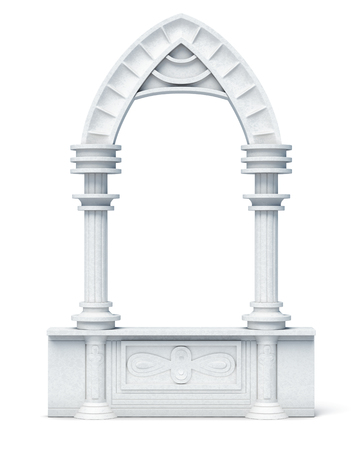 balustrade: Architectural objects columns arch parapet balustrade on white background. 3d render image.
