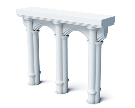 Architectural elements columns arches isolated on white background. 3d render image.