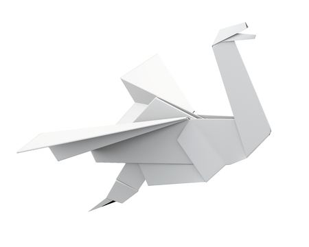 origami bird: Paper crane isolated on white background. Origami bird. 3d rendering